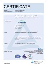 Certificate: Development and production of fiber glass material parts.